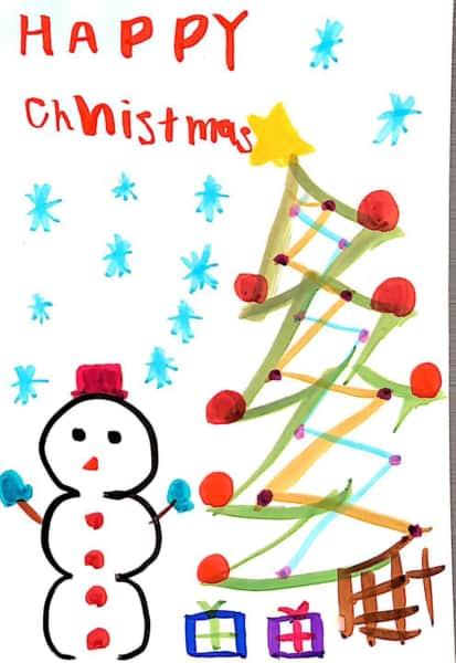 HAPPY Christmas 〜クリスマスツリーと雪だるまのクリスマスカード〜