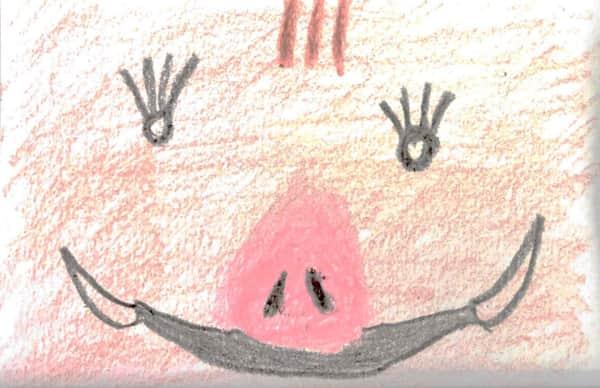 大アップのイノシシさん。亥年の年賀状絵手紙