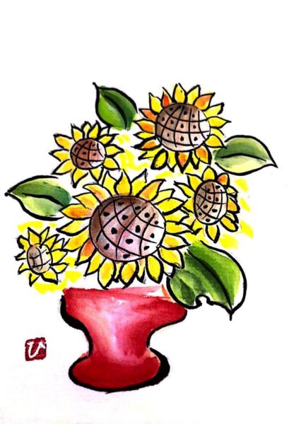花瓶のひまわり畑