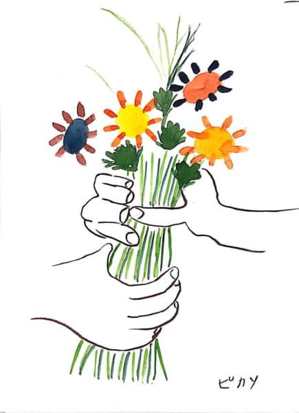 ピカソの「花束を持つ手」模写