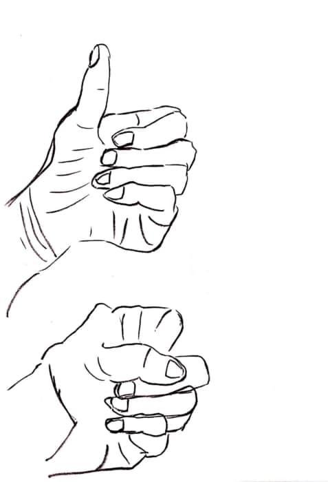親指を上げた手と握りこぶしのデッサン