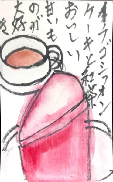 いちごシフォンケーキと紅茶