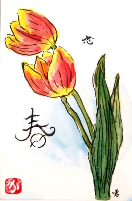 春、赤いチューリップの花
