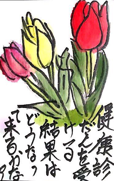 赤、黄色、ピンクのチューリップの花