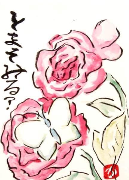 とまってみる? 〜ピンクのバラの花にとまるモンシロチョウ〜