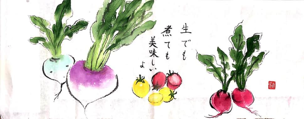 生でも煮ても美味しいよ 〜カブとミニトマトの絵手紙〜