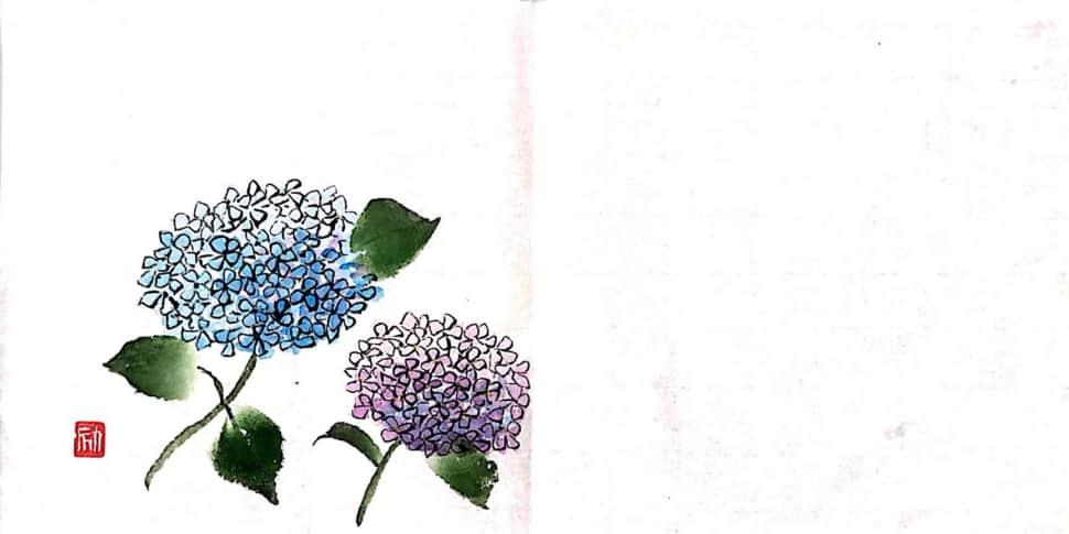 大きな和紙にしたためた紫陽花