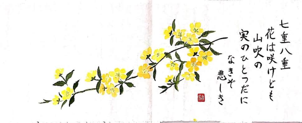 山吹の花の和歌の絵手紙