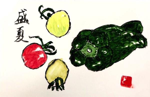 盛夏 〜ピーマンとミニトマト〜