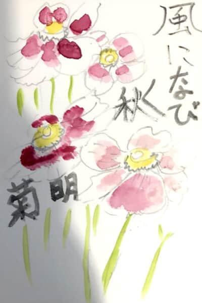 風になびく秋明菊