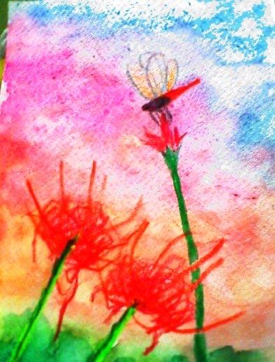 彼岸花と赤トンボ