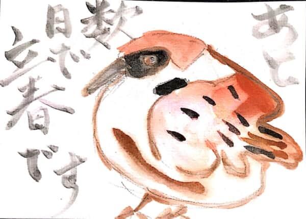 あと数日で立春です 〜雀の絵手紙〜