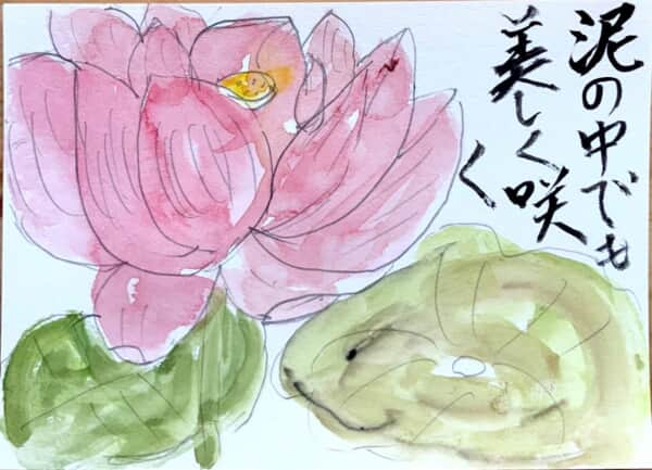 泥の中でも美しく咲く 蓮の花の絵手紙