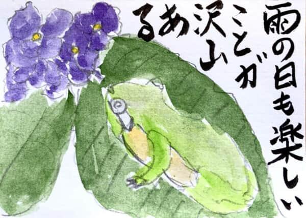 雨の日も楽しいことがたくさんある 〜紫陽花の花とカエルの絵手紙〜