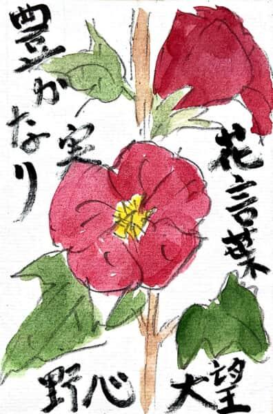 花言葉 野心 大望 豊かな実り タチアオイの花言葉の絵手紙