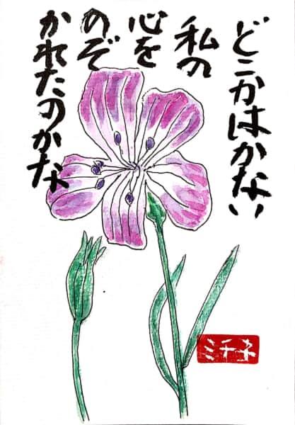 どこかはかない私の心をのぞかれたのかな 〜すみれの花の絵手紙〜