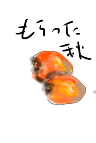 もらった秋 〜柿の実の絵手紙〜