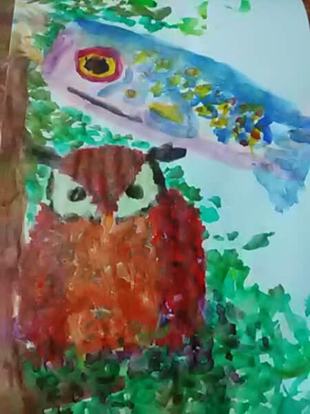 ミミズクと鯉のぼり